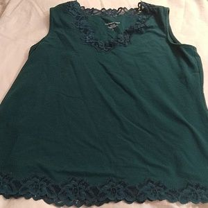 Coldwater Creek green shell with lace